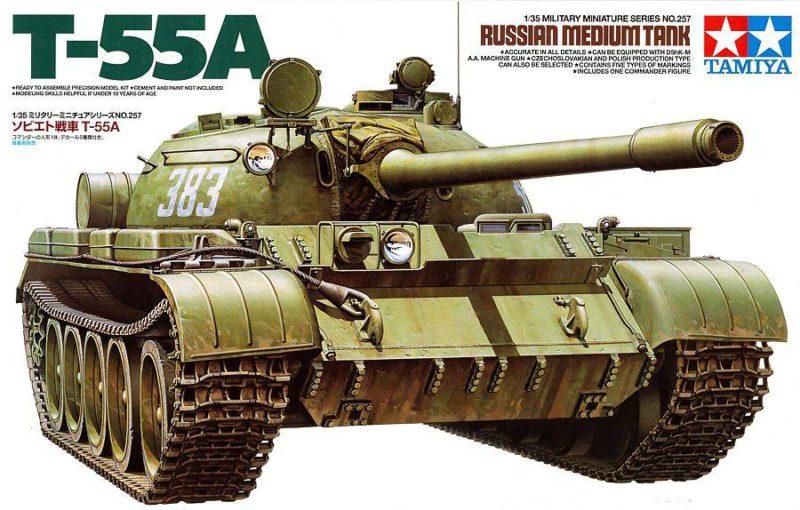 T-55a russian medium tank - 1:35 scale military - tamiya