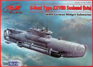1:72 Сборная модель подводной лодки U-boat Type XXVIIB 'Seehund' (поздняя) ICM S.007