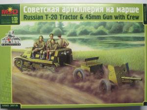 3516 Макет 1/35 Советская артиллерия на марше (трактор Т-20 и 45-мм пушка с экипажем)