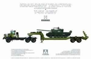 2095 Takom 1/35 KraZ-260V Tractor w/ChMZAP-5247Gb Semi-Trailer + T-55 AMV